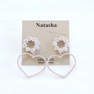 Natasha Champagne Gold Rhinestone Heart Earrings